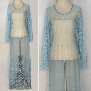 VINTAGE Boho Sheer Embroidered Maxi Baby Blue